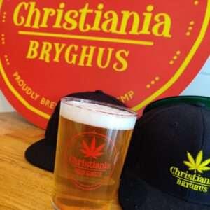 Christiania Bryghus rødt logo-glas
